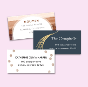 Custom details like personalized address labels complete your graduation cards.