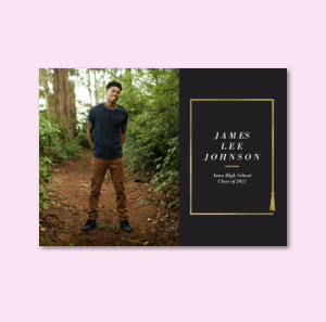 Graduation announcements with metallic text and personalized messages.