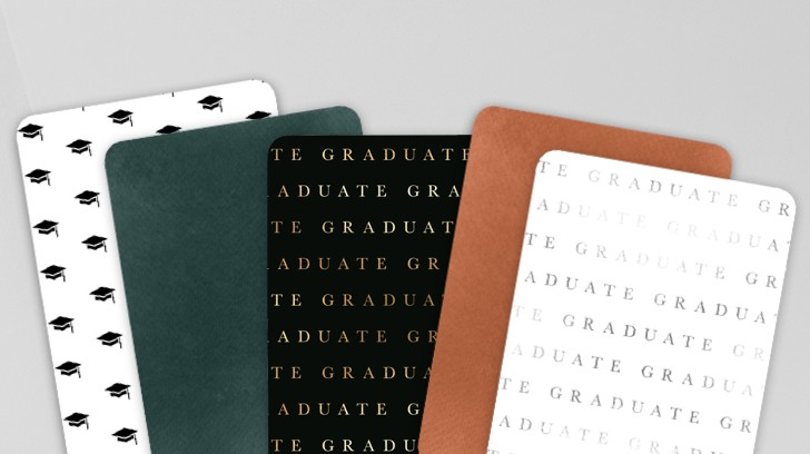 Shutterfly graduation cards in luxe cardstock and a variety of designs.