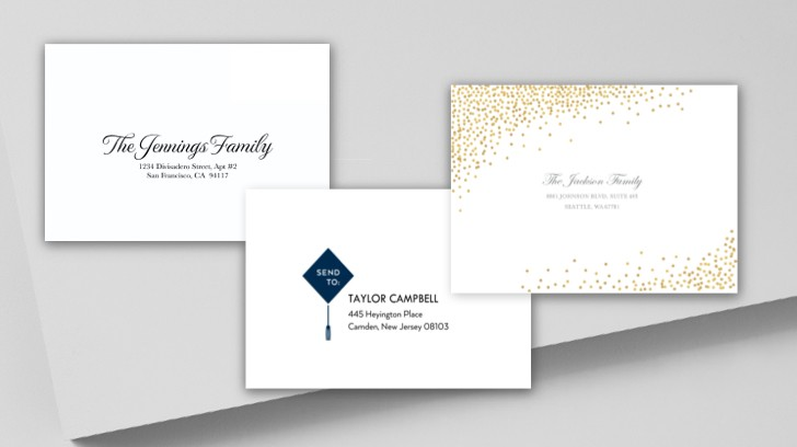 Custom envelopes make for elevated graduation invitations and announcements.