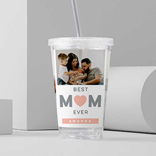 Gray pink water tumbler best mom ever