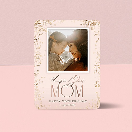Personalized mothers day card pink metallic love you mom