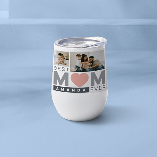 White collage tumbler with mom