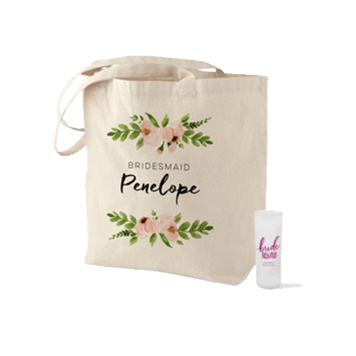 personalized bridal party gifts like custom tote bags and personalized shot glasses