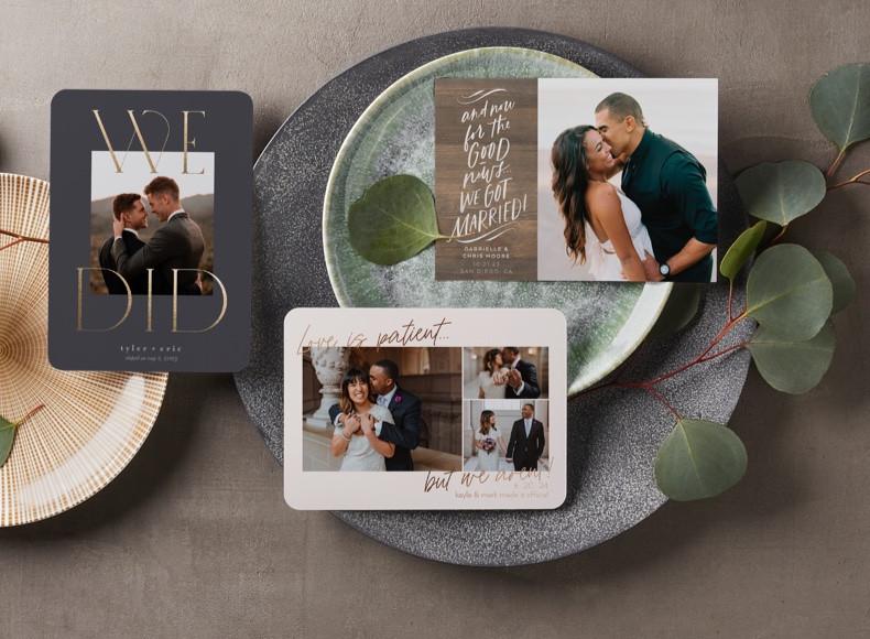 custom wedding announcement cards with wedding photos