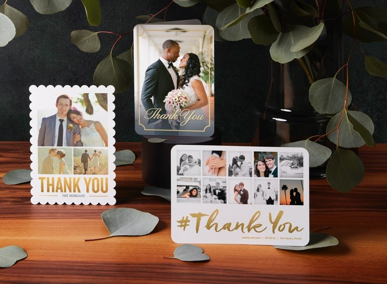 custom wedding thank you cards with personalized wedding photos and designs