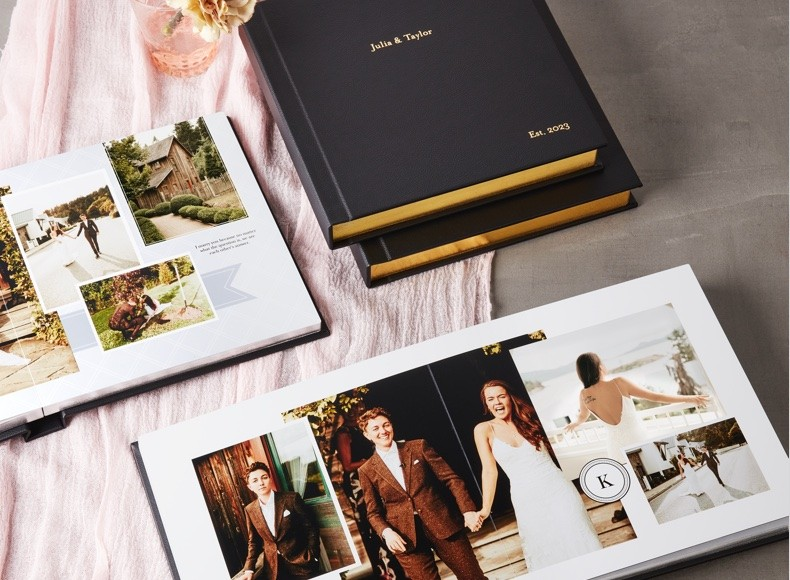 make your custom wedding photo album with personalized designs