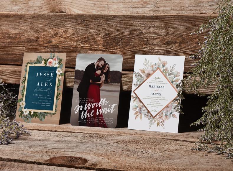 custom wedding invitation designs for RSVP cards and wedding invitations