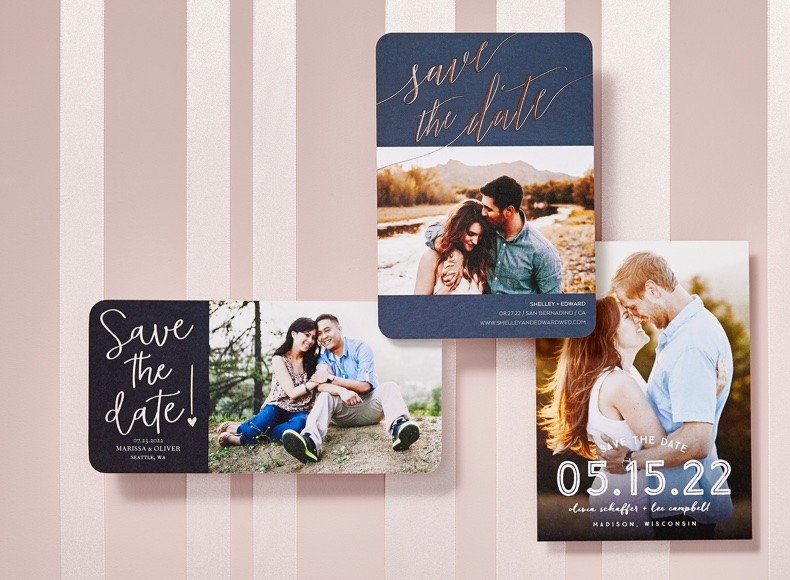 customizable save the date cards with engagement photos