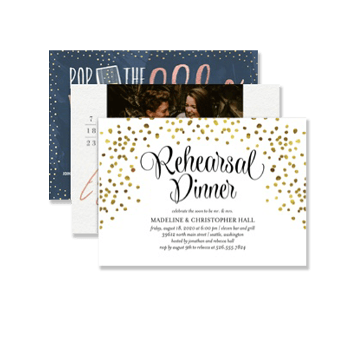 personalized and glitter wedding party invitations on premium cardstock