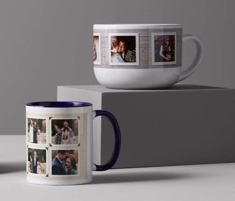 Use Shutterfly's free photo storage service to create custom photo mugs