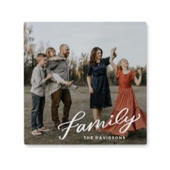 Custom photo tile wall art made with an uploaded family photo