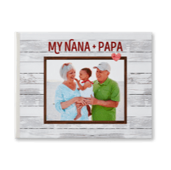 Everyday rustic custom photo book with a picture of grandparents and their grandchild