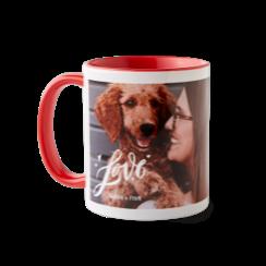 Full of love custom ceramic coffee mug with photo of a woman and her dog