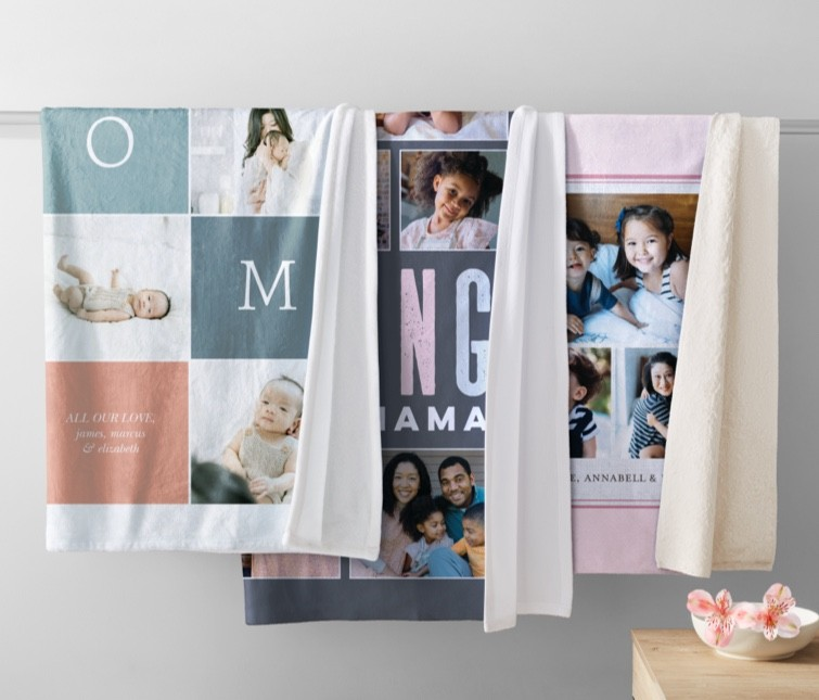 Use Shutterfly's free photo storage service to create personalized photo blankets