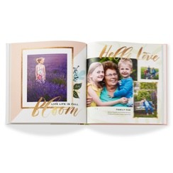 Custom photo books designed with stored photos from Shutterfly