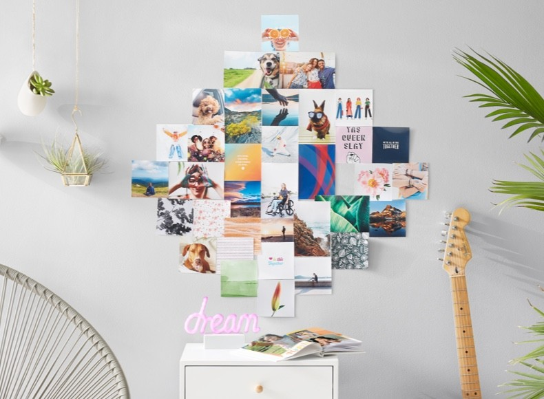 A photo wall of photo prints uploaded to Shutterfly's storage service
