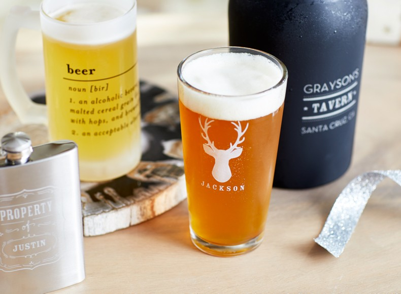 Personalized pint glasses make classic gifts for men who have everything.