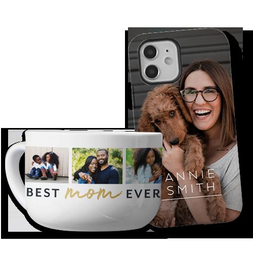 Custom phone cases and coffee mugs make thoughtful gift ideas.
