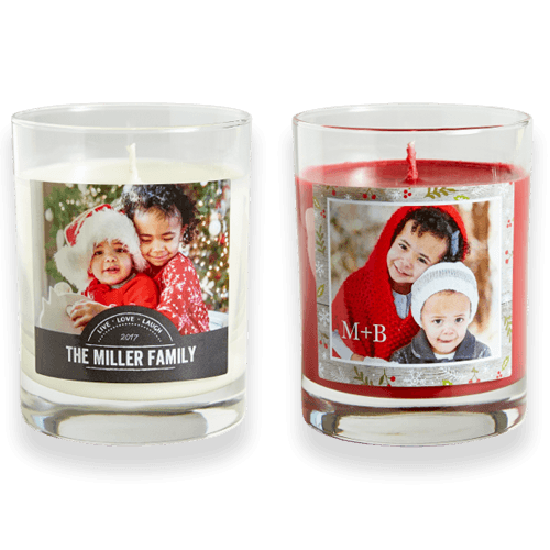 Gifts for the home like custom candles with photos add warmth.