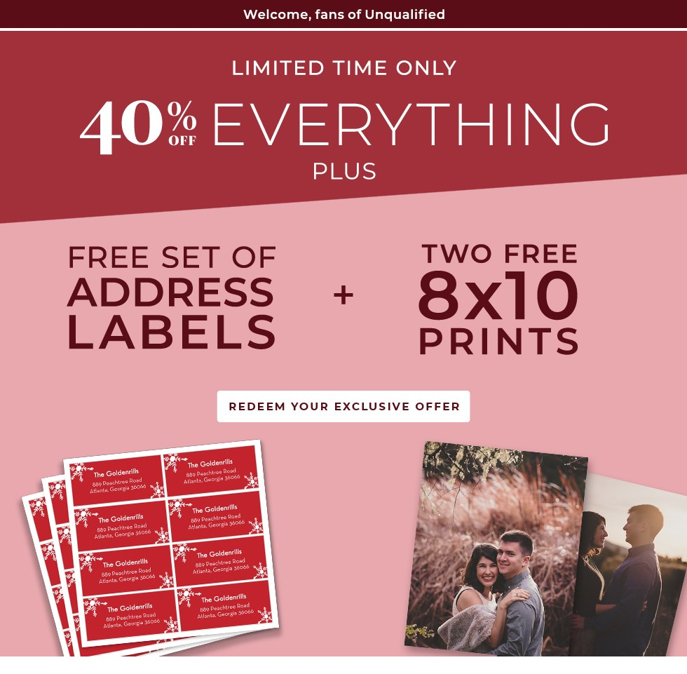 40% Off Everything Plus Free Address Labels and Two Free 8x10 Prints