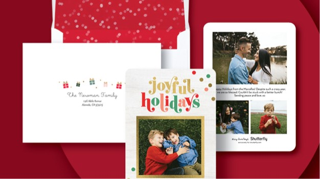 Holiday card with free back of card design, custom envelope and matching envelope liner