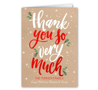Holiday thank you card with a red custom envelope that says thank you very much