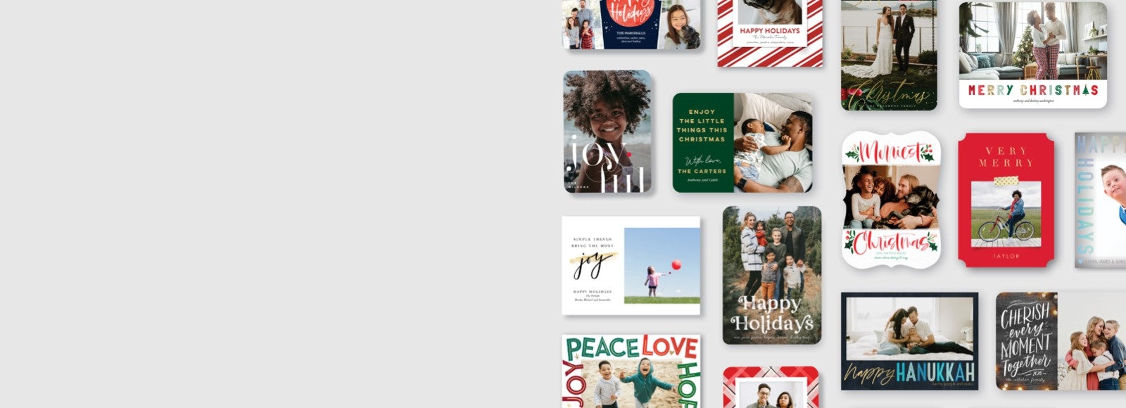 A variety of holiday cards and christmas cards