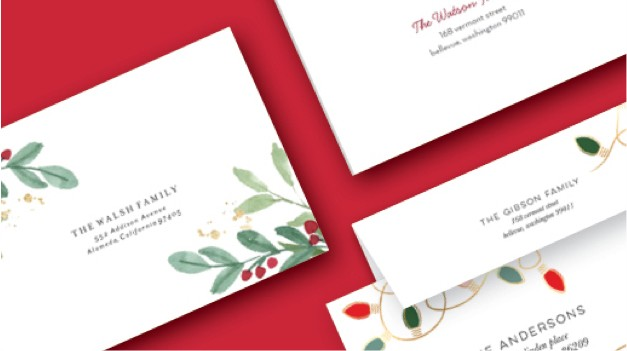 Variety of custom envelope designs to send with Christmas cards and holiday cards