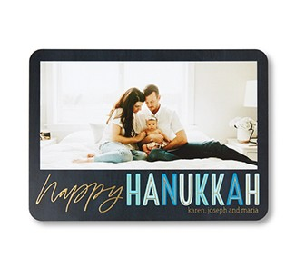 Custom Hanukkah card with a photo of parents and a baby