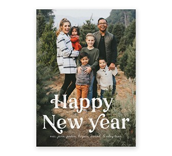 Custom New Year's card with a photo collage of family pictures