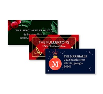 Personalized address labels for holiday cards and Christmas cards