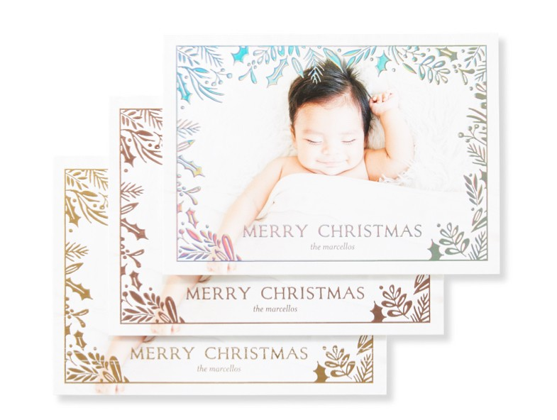 Make a statement with gold, rose gold or iridescent raised foil on our new personalized foil paper