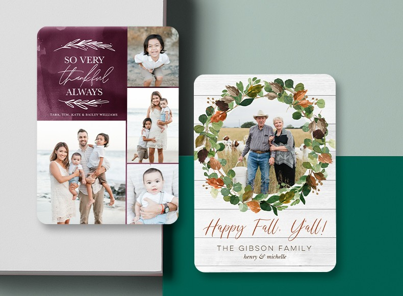 Bring the whole family to the dinner table with Thanksgiving invitations and cards.