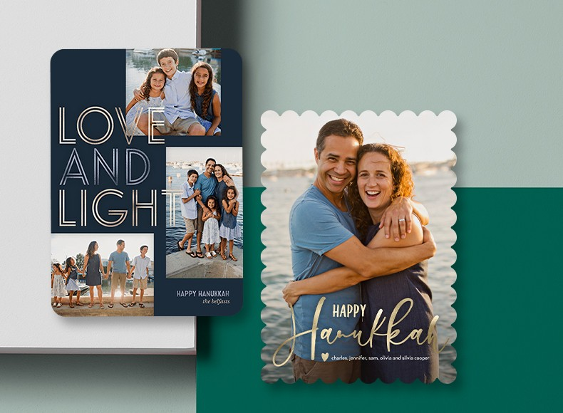 Happy Hanukkah cards, or Chanukah cards if you prefer, feature customizable metallics, colors, and greetings to send your friends this holiday season.