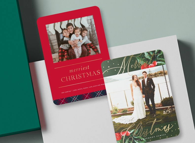 Custom Christmas cards feature holiday designs you can personalize with holiday greetings and photos of your choice.