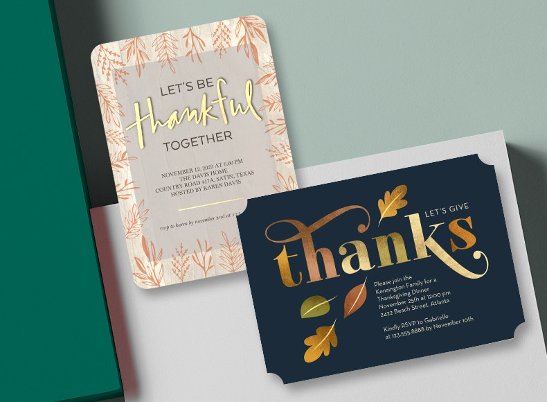 Friendsgiving invites from Shutterfly let you get the whole group together for Thanksgiving of your own creation.