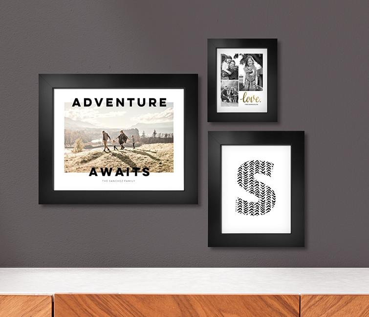 Custom wall art prints in black frames arranged as gallery wall decor