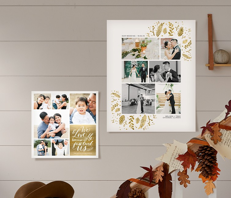 Collage poster prints in custom sizes and metallic frames