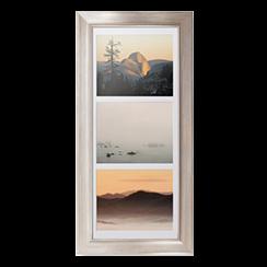 Triple landscape framed print with metallic frame