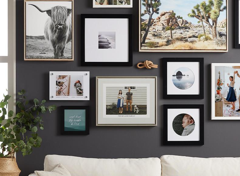 Custom size framed photo prints arranged as wall art gallery wall