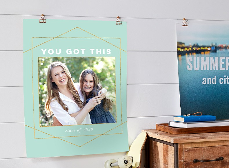 Custom and personalized photo poster prints hung up on wall