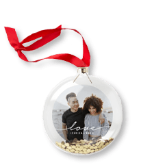 Modern Love Script personalized glitter ornament with a picture of a couple and gold glitter