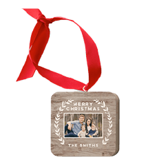 Rustic Foliage wooden ornament with a picture of a family