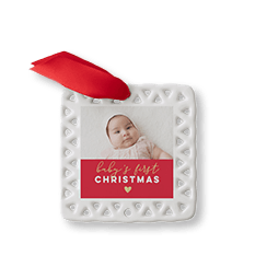 Baby's First Christmas heart ceramic ornament with a picture of a baby