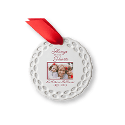 Always In Our Hearts personalized ceramic memorial ornament with a photo of a grandmother with her grandchildren