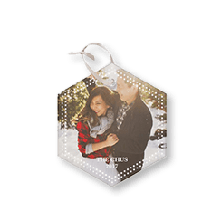Double Dot Border personalized glass ornament with a photo of a couple in the snow