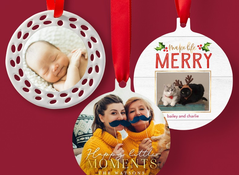 Three personalized Chistmas ornaments with pictures of a baby, cats, and a mother and daughter on each ornament
