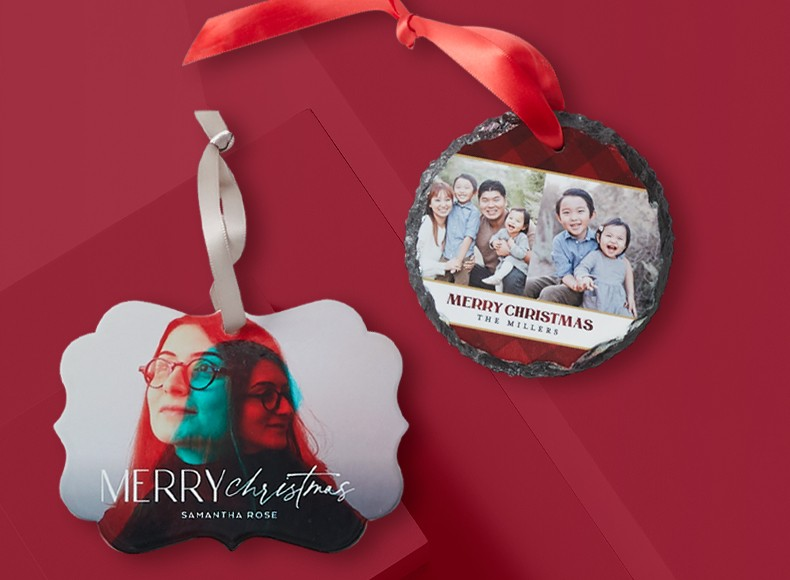 A circle ornament and bracket ornament that say Merry Christmas