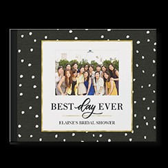 Chic Celebrations by Float Paperie custom photo book style with a picture of a group of friends on the cover